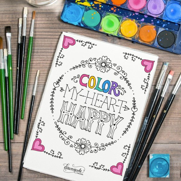 10+ Typographic Coloring Pages | www.dawnnicoledesigns.com