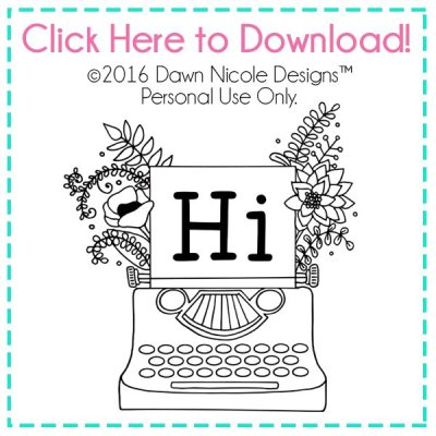 DIY Vintage Typewriter Stamp | Create this fun stamp in no time with your Silhouette Mint + this free hand drawn design! | DawnNicoleDesigns.com