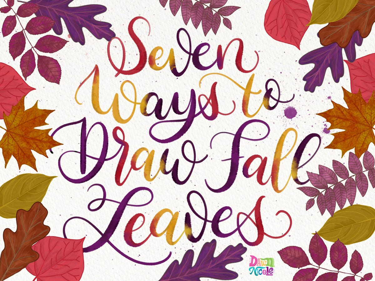7 Ways to Draw Fall Leaves. How to draw seven common types of Fall leaves. Plus, how to use them to add character to your hand lettering and calligraphy.