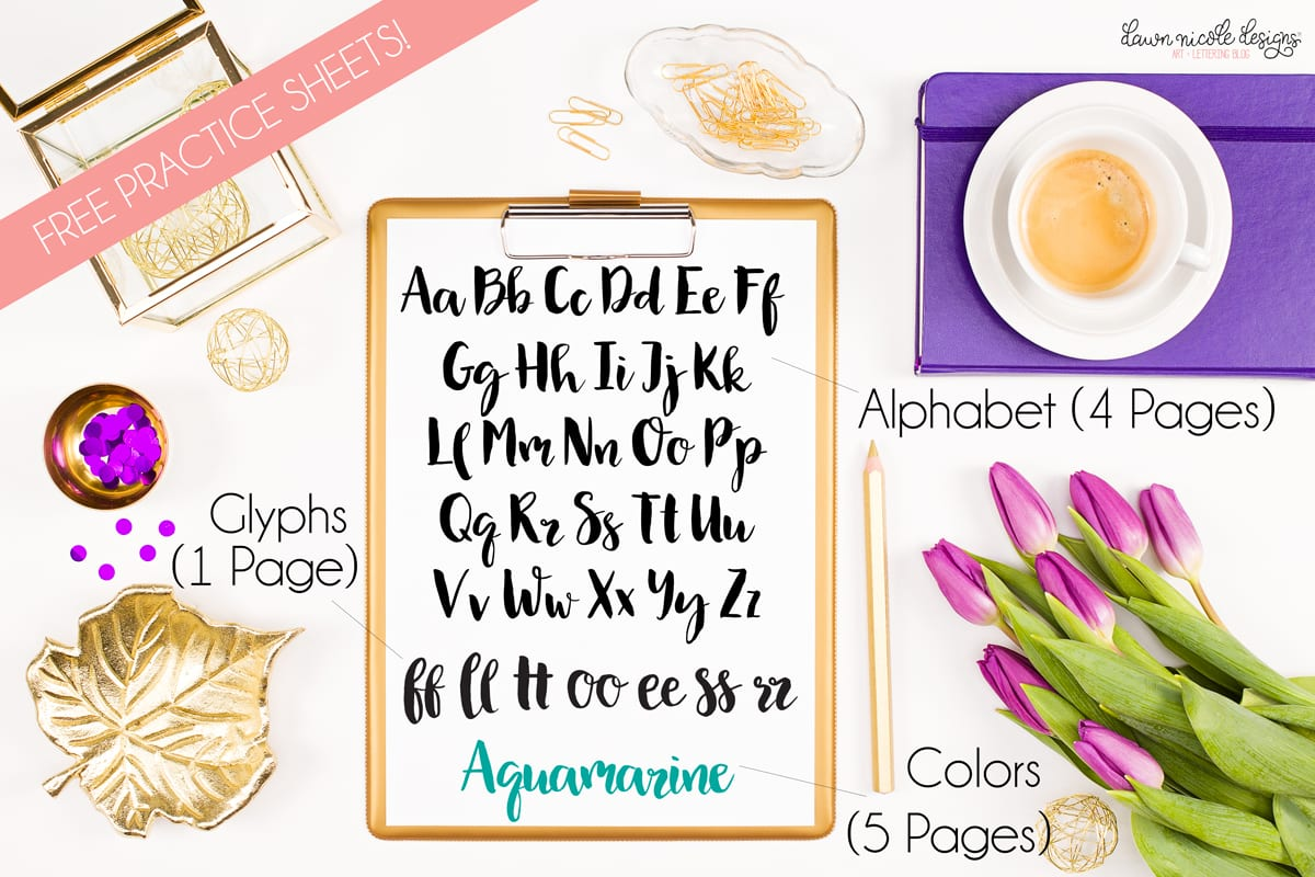 10 Free Brush Lettering Practice Sheets Dawn Nicole Designs