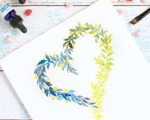 DIY Watercolor Heart Wreath