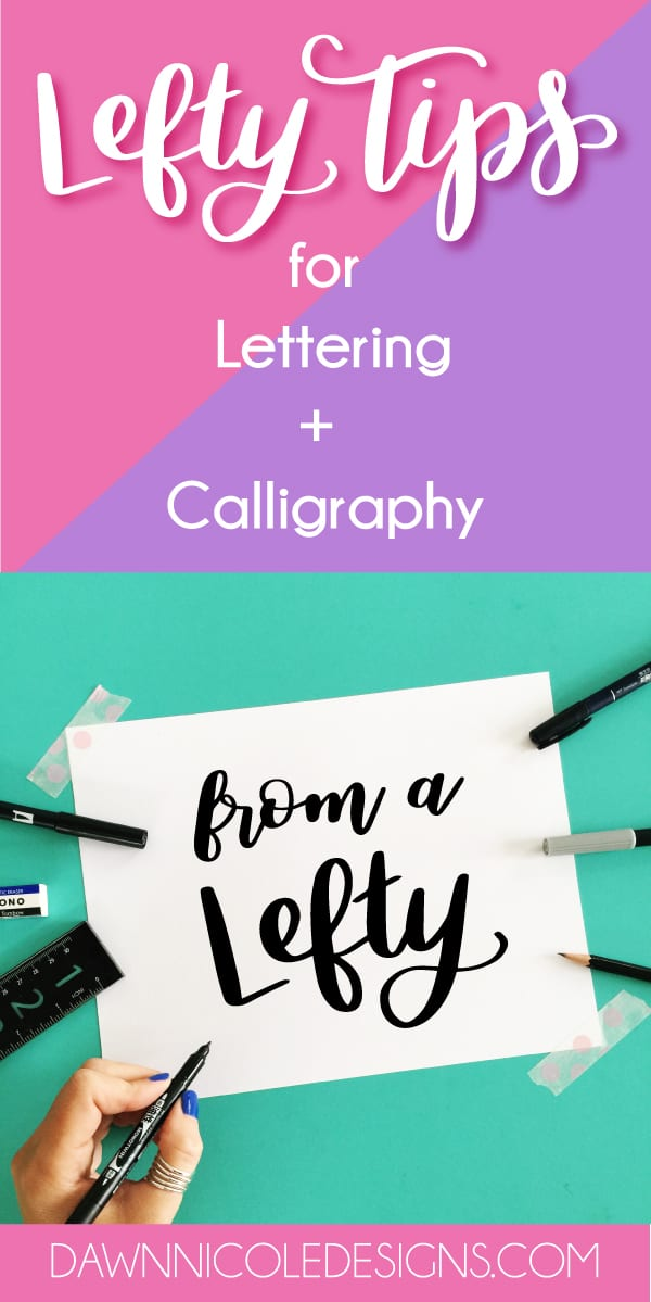 Lefty Tips for Hand Lettering and Calligraphy. I'm a lefty myself so I love seeing other lefties overcome the myth that lefties don't make good letterers!