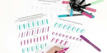 Basic Strokes Worksheets for Large Brush Pens