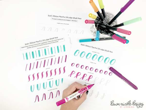 Basic Strokes Worksheets for Large Brush Pens. Download these free brush calligraphy worksheets and get practicing!