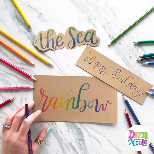 3 Easy Colored Pencil Lettering Styles using Tombow Color Pencils. One little trick makes all three styles super simple to create!