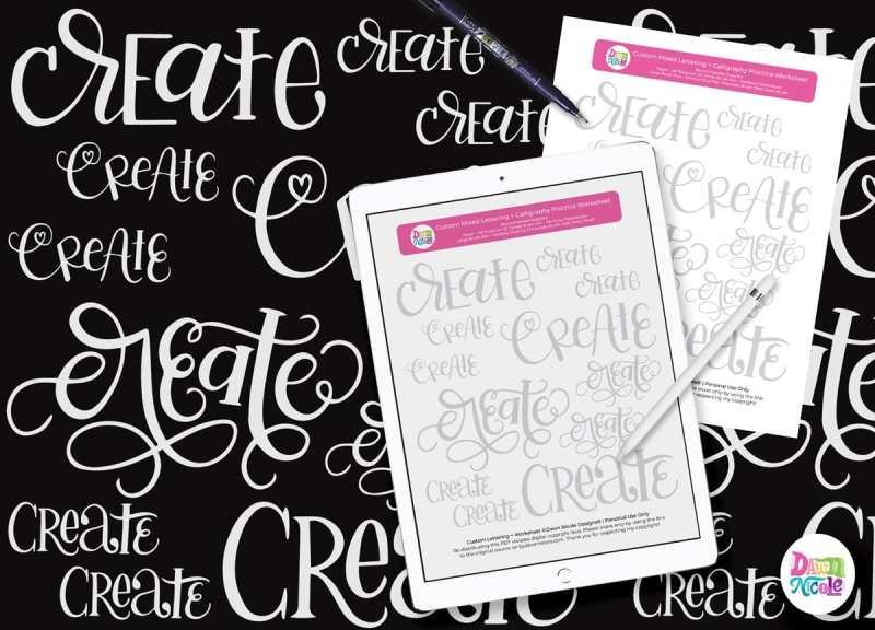 Mixed Lettering Practice Sheets: Create. Grab this free mixed lettering styles custom practice sheet in both printable and iPad versions!