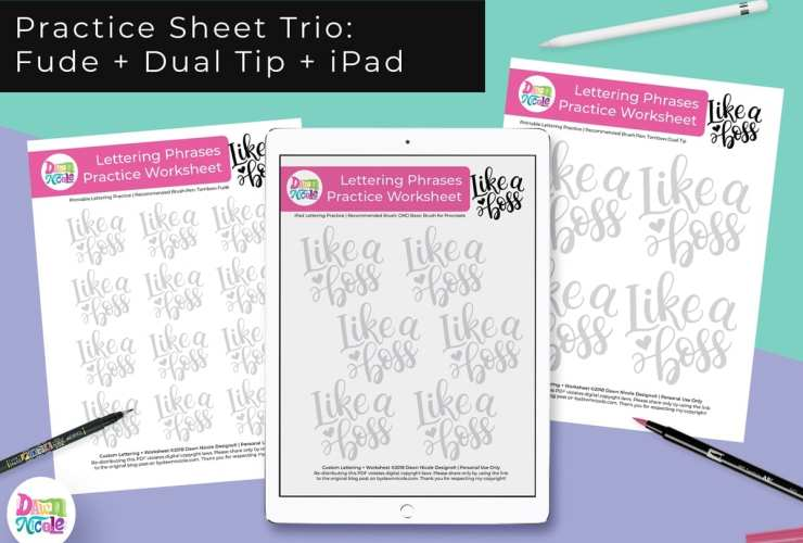 Like a Boss Lettering Practice Sheets. A trio of custom worksheets for use with your iPad, the Tombow Fude, and the Tombow Dual Tip!