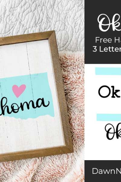 Hand-Lettered Oklahoma SVG Cut File. Grab this free hand-lettered and illustrated state art SVG in three lettering style options!