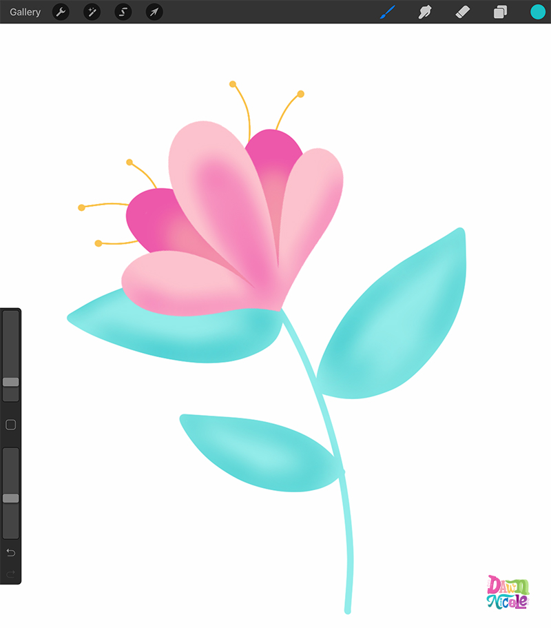 Learn how to create this easy flower drawing in Procreate in just a few steps.
