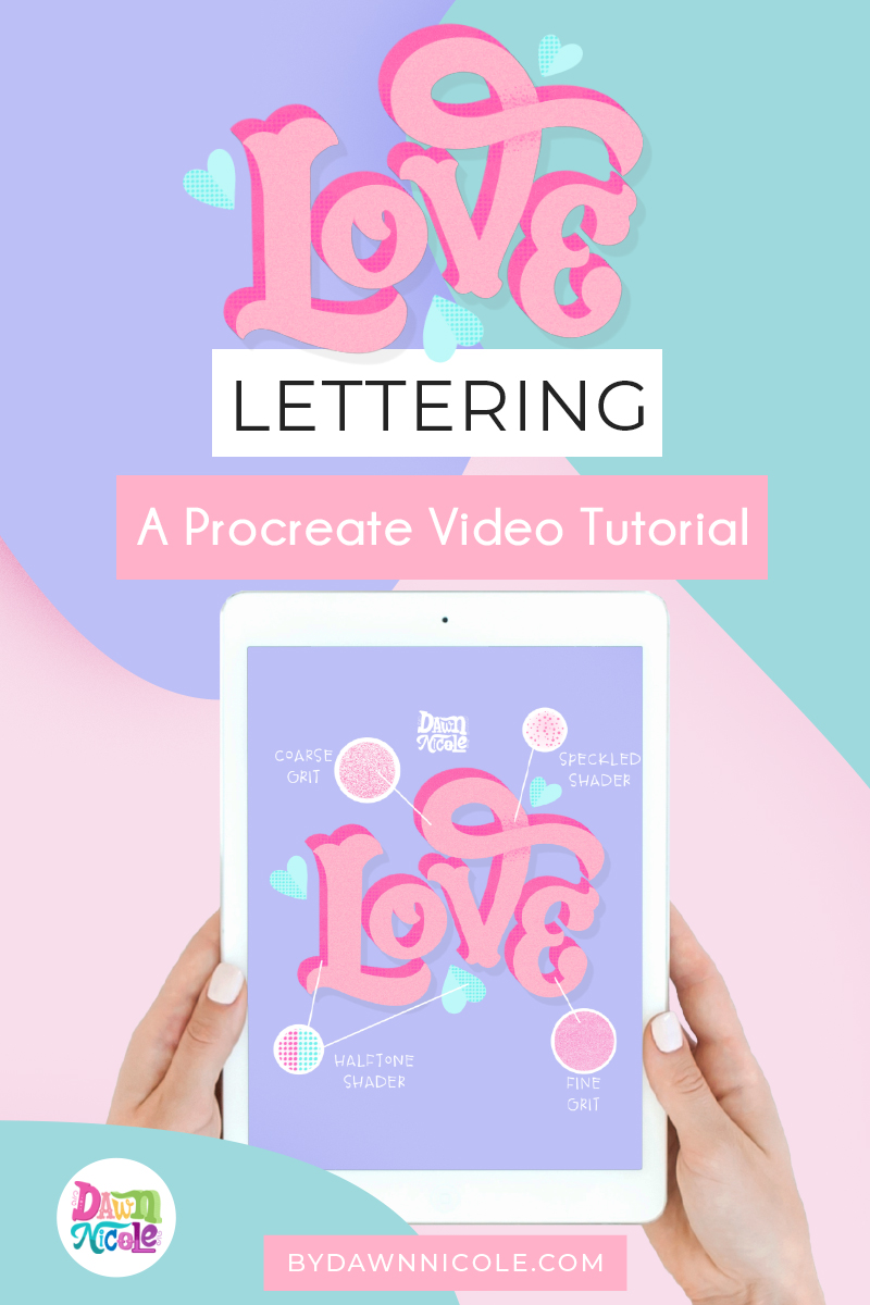 Grab the free color palette and learn to create this textured love lettering!