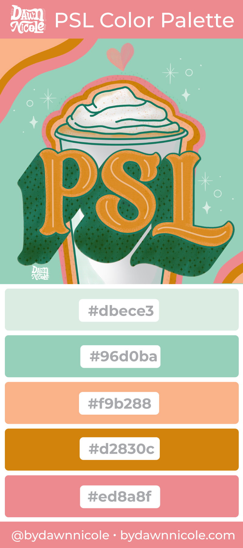 Pumpkin Spice Latte Color Palette. A sweet seasonal color palette inspired by my love of pastel Fall colors and, of course, PSLs.