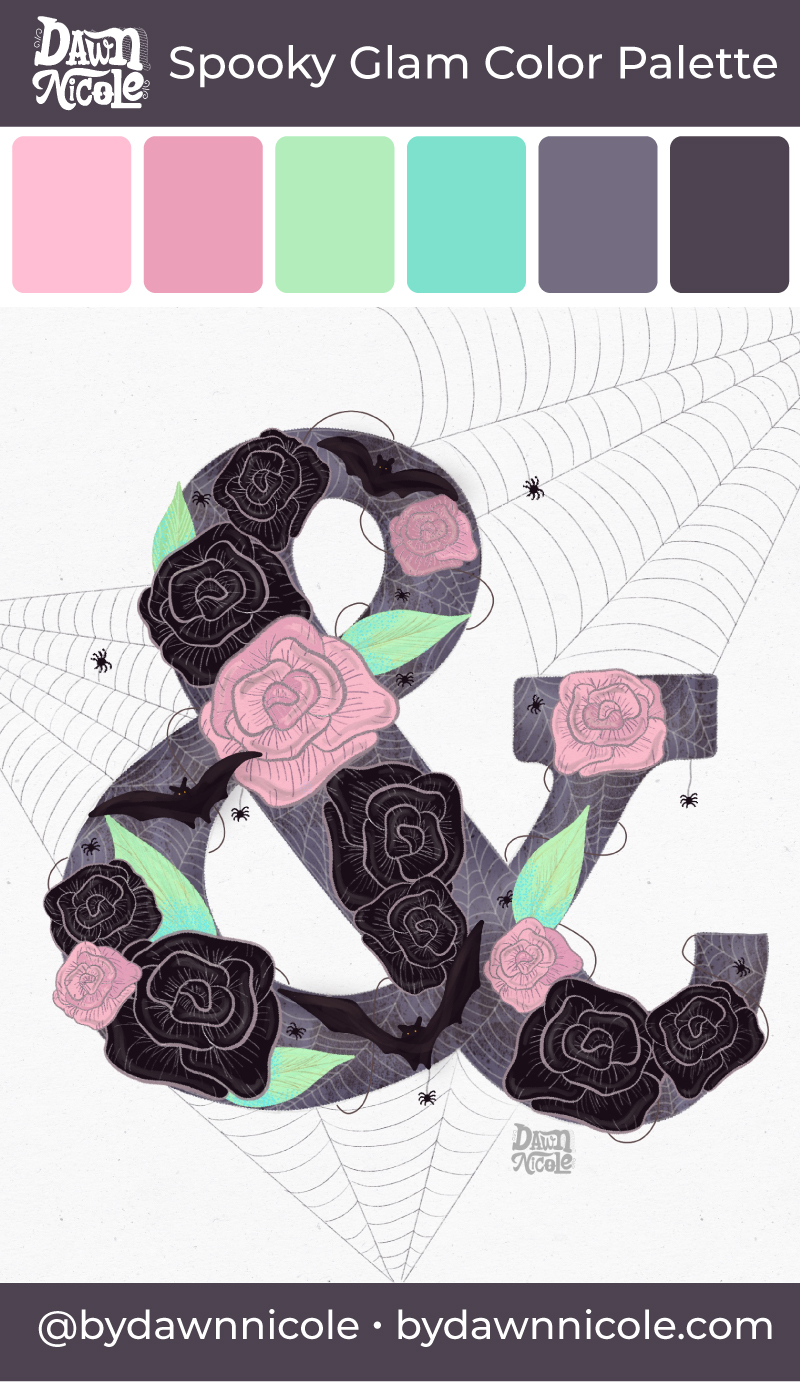 Spooky Glam Color Palette. Grab the free Halloween Chic color palette I used to create this spooky spider web and floral ampersand.