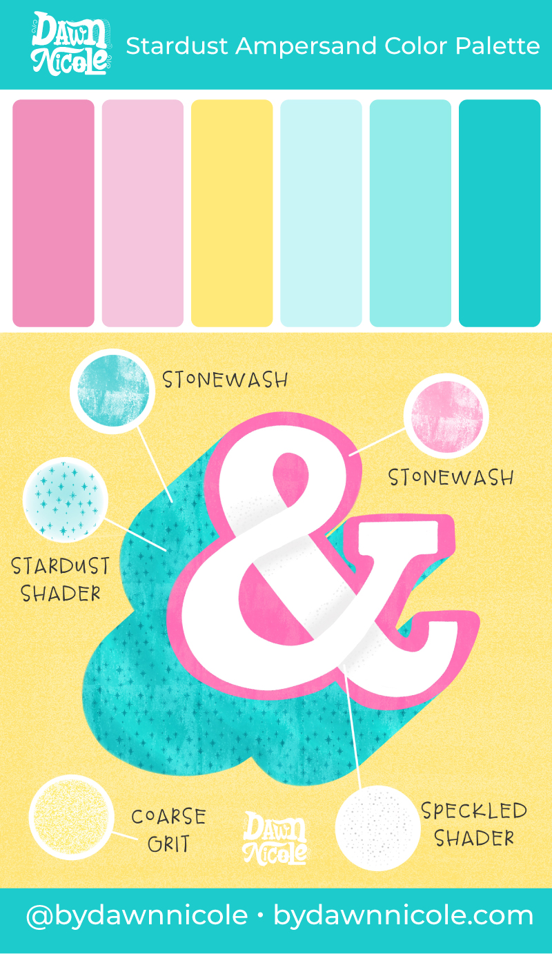 Stardust Ampersand Color Palette. I'm sharing this bright and cheery free color palette along with a few tips to level up your lettering.
