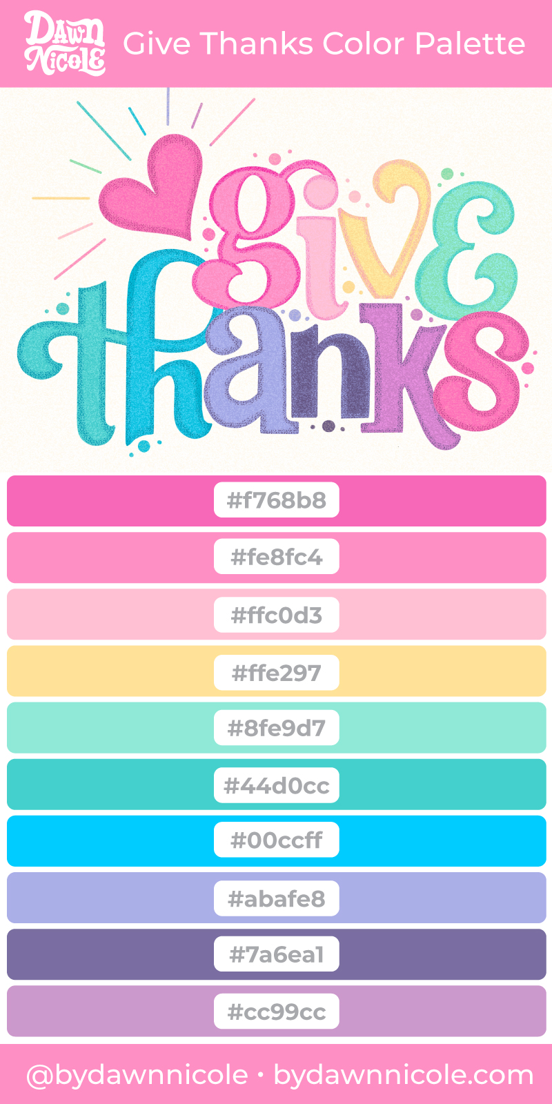 "Give Thanks Color Palette. Grab the free color palette I used to create this ""Give Thanks"" hand lettering in the Procreate app!"