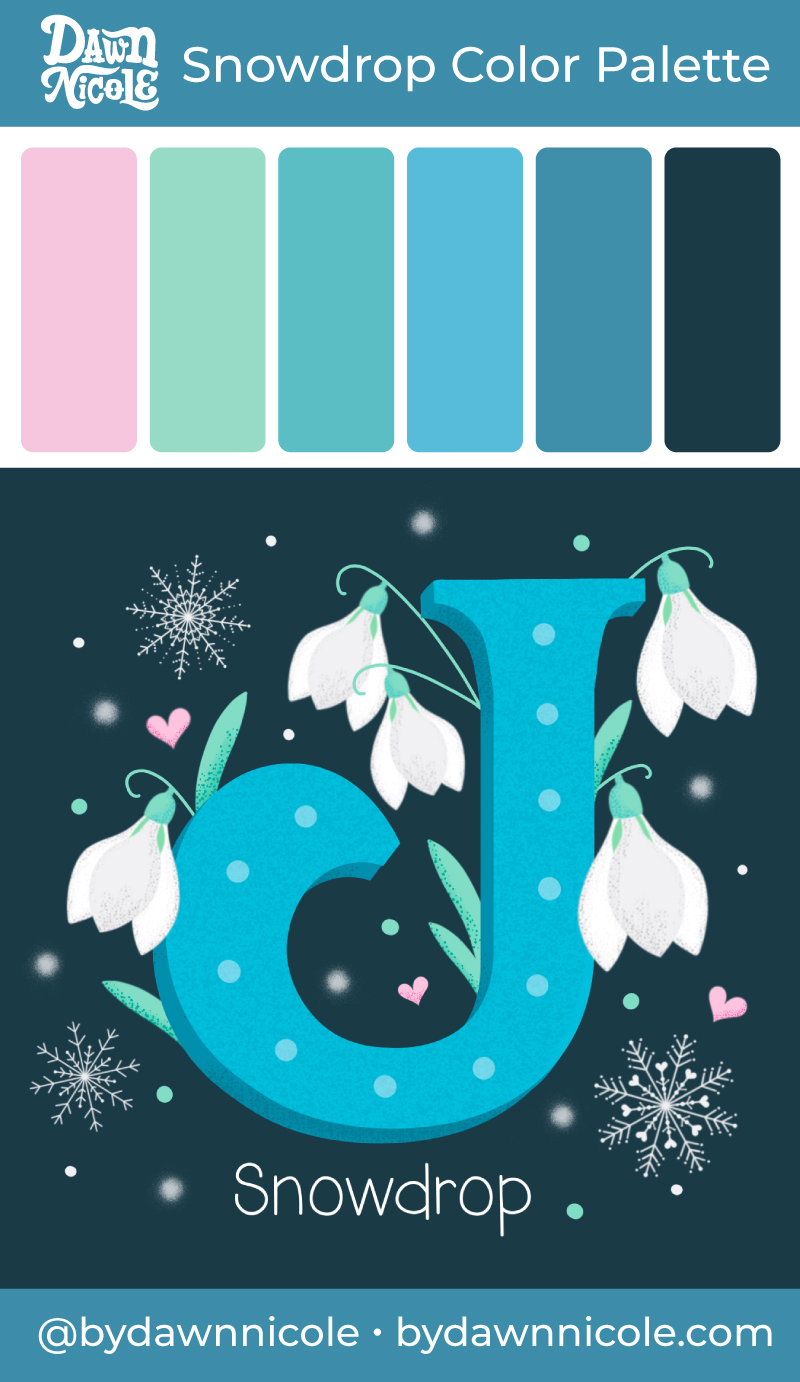 Snowdrop Flowers Color Palette. Grab this free color palette to use in the January Birth Flowers Drop Cap Procreate Tutorial!