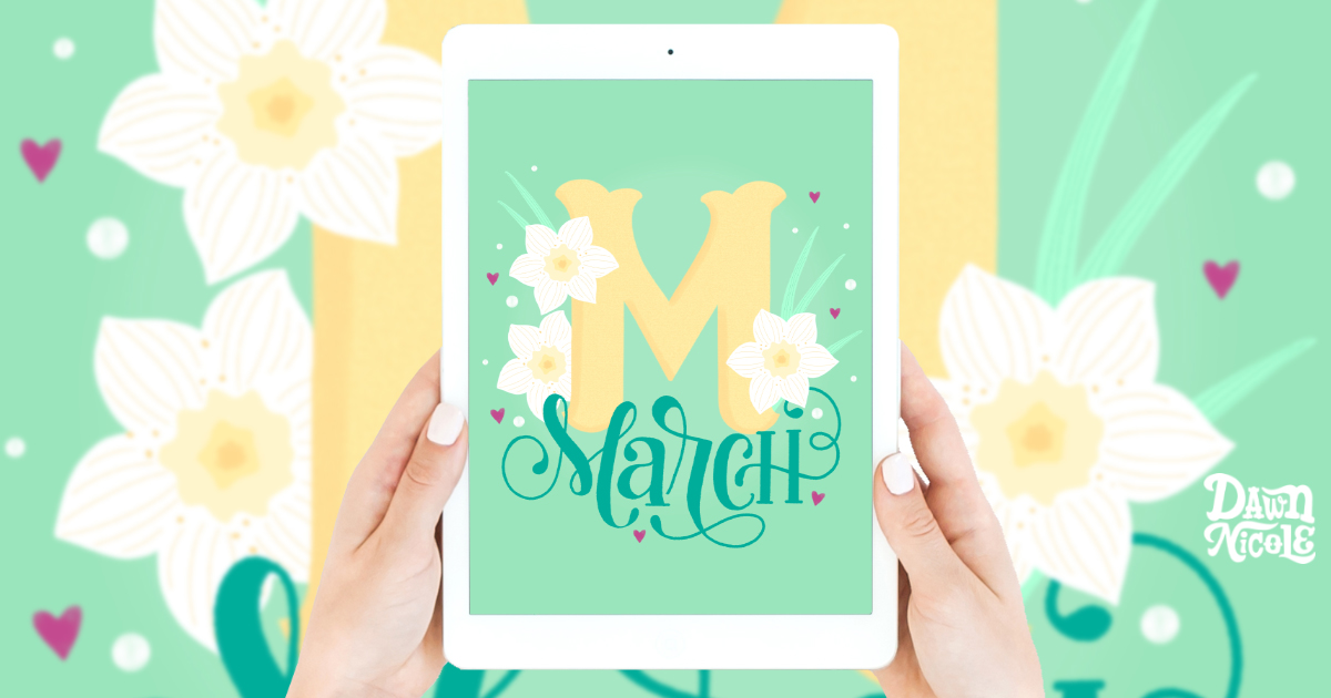 March Birth Flowers Drop Cap Tutorial. Follow along with my video lesson to create this Daffodil drop cap in Procreate.