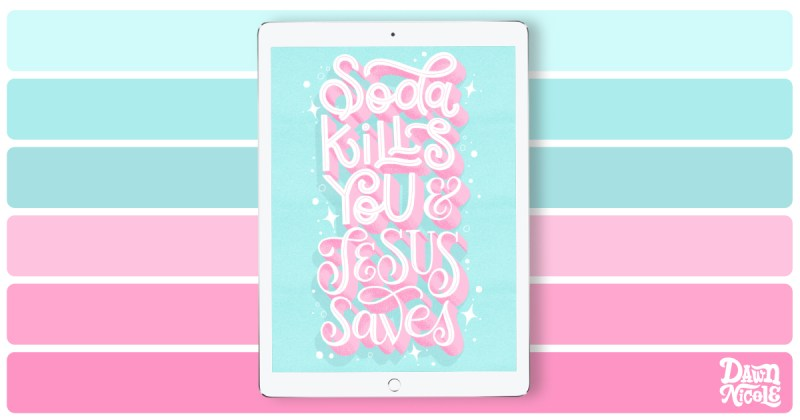 Soda Pop Color Palette. Grab the sweet color palette I used to create this lyrical hand lettering in the Procreate app!