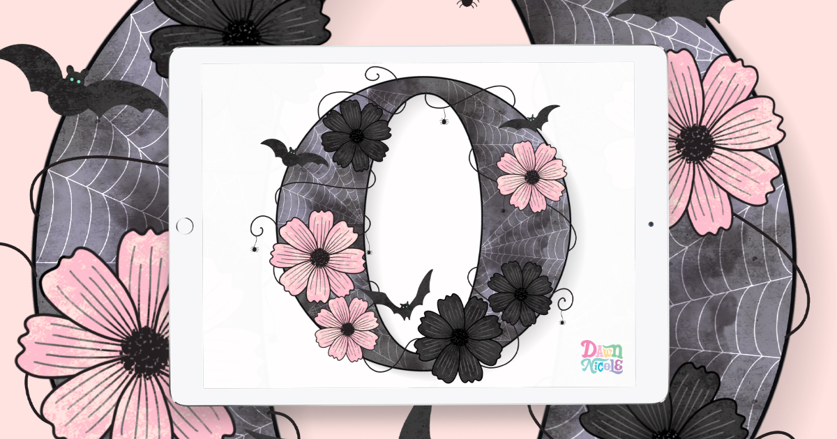October Birth Flowers Drop Cap Tutorial. Follow along with my video on Procreate tips for creating this spooky glam letter O.
