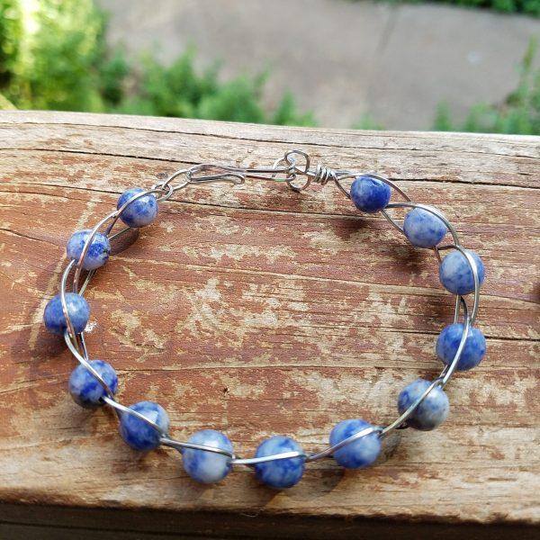 Sodalite Stainless Steel Braided bracelet
