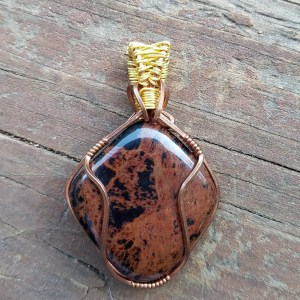Red Jasper Copper Wire Pendant