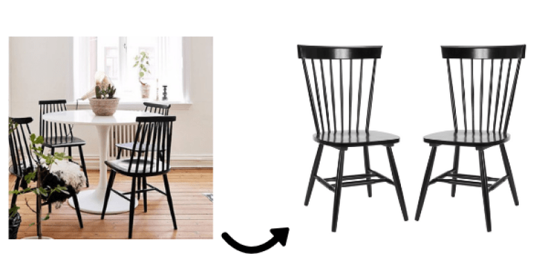 black spindle chairs