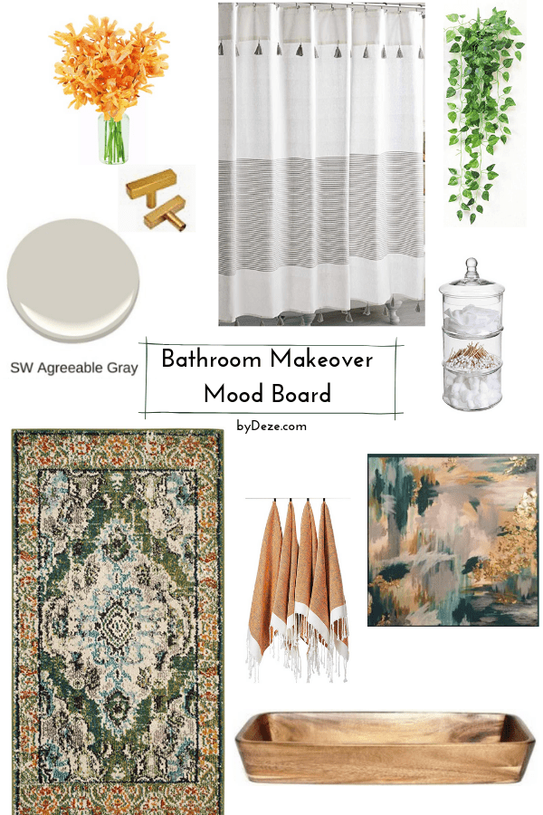 mood board for the budget, small bathroom makeover