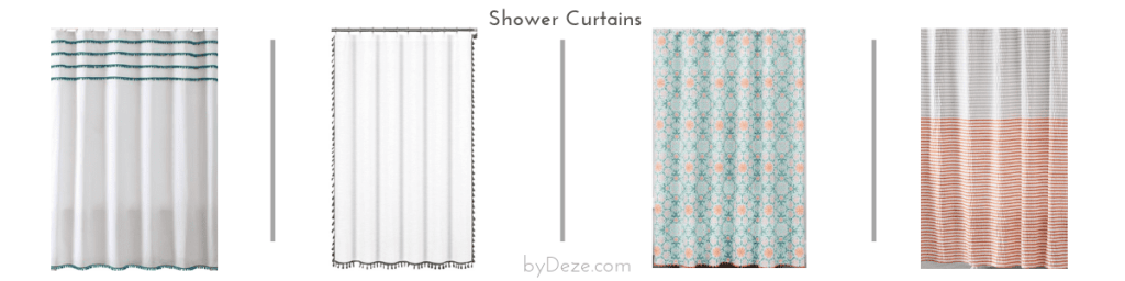 4 shower curtain options that can be incorporated in the bathroom mood board