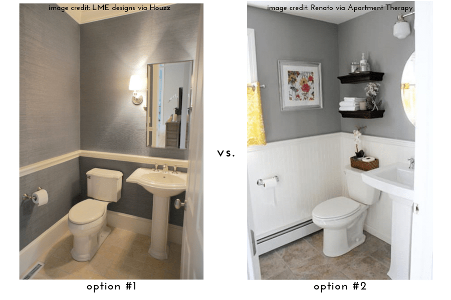 side by side comparison of two small bathroom makeovers, one featuring gray all over and the other with gray only above the chair rail