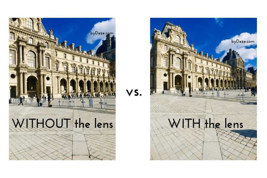 A comparison of the Louvre courtyard with the pro lens and without the pro lens
