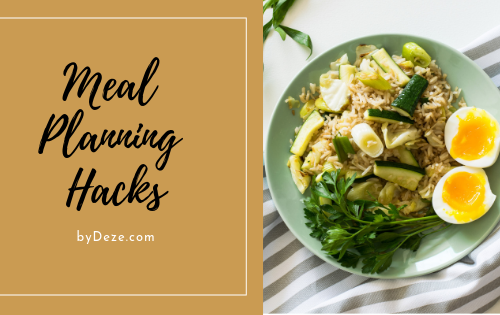 a banner for meal planning hacks featuring a plate of greens and 2 eggs