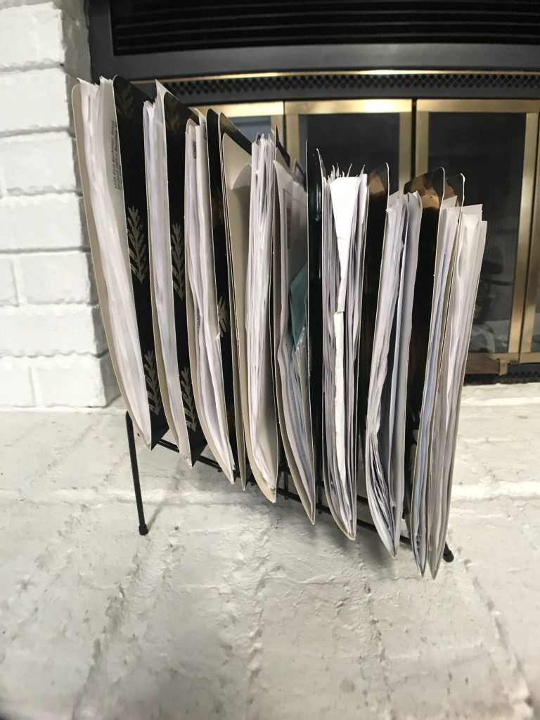 side view of my family's filing system