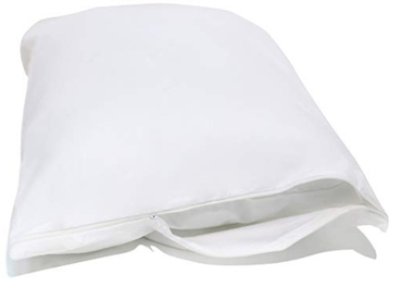 a white bed bug proof pillow cover
