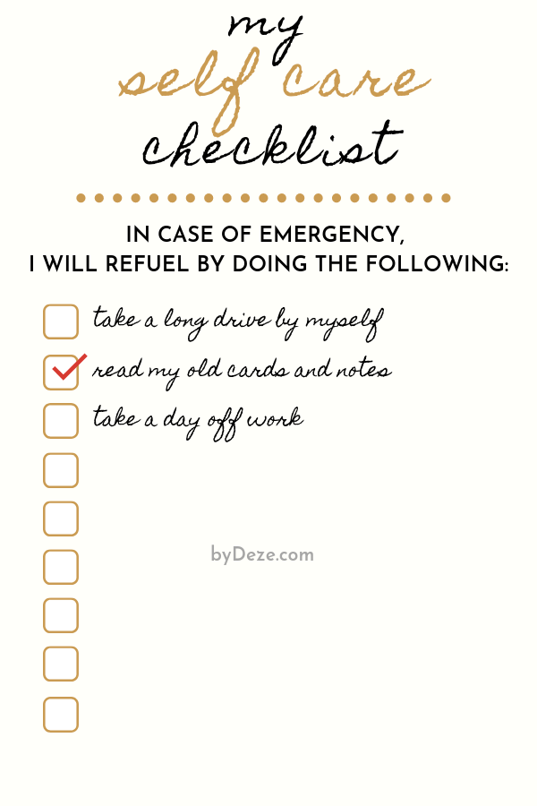 sample self care checklist