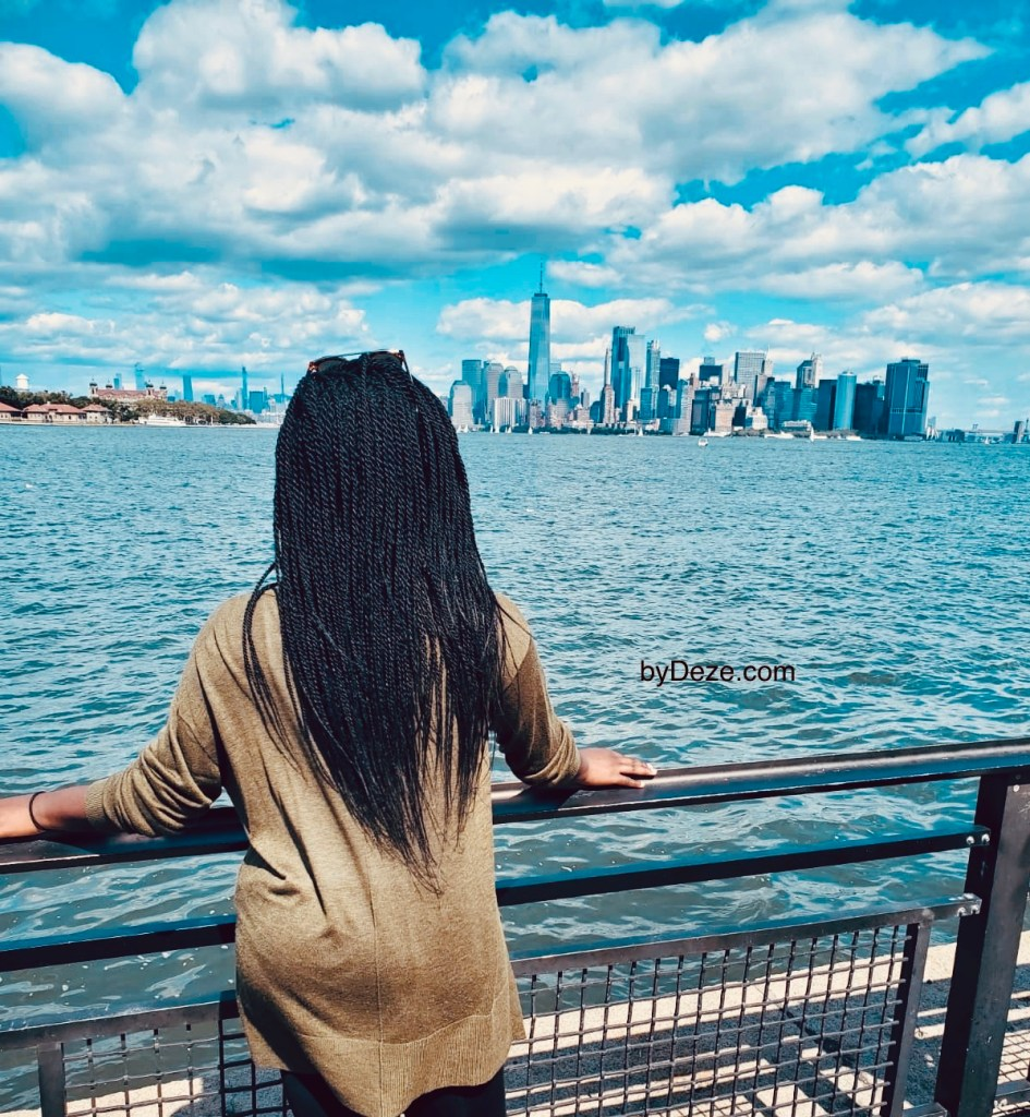 Me facing the NYC skyline on my girls trip to NYC