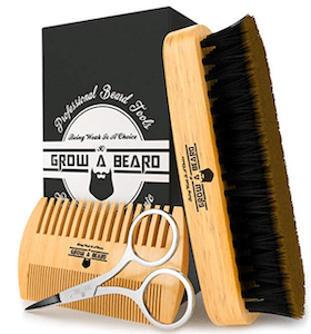 a bread brush, comb and scissors in a handsome set is an awesome gift idea for guys