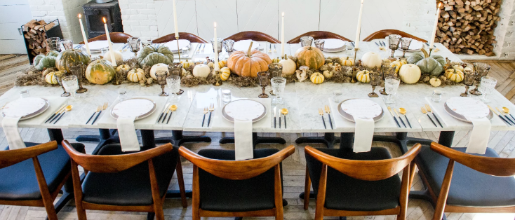 An inspiration pic of a holiday table setting in a modern style