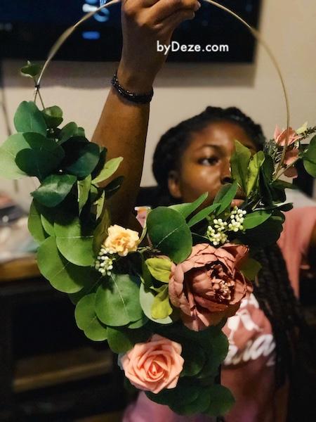 DIY hoop bouquets for the wedding