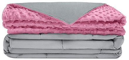 a pink weighted blanket to be used as an endometriosis gift