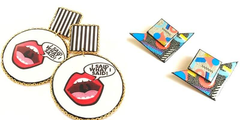 "graphic earrings with lips that say ""i said what i said"""