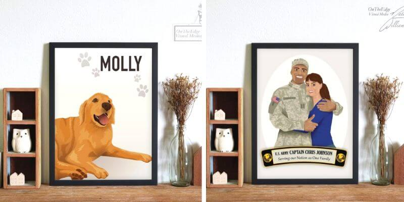 personalized portraits of pets and humans from black etsy shop