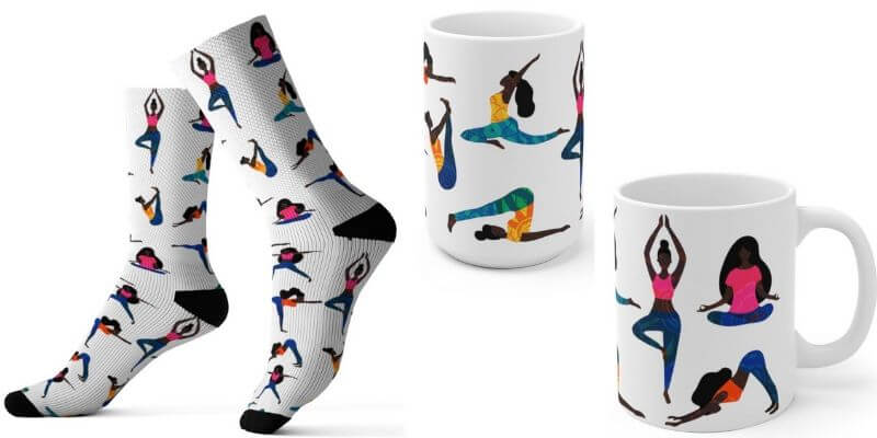 yoga socks and black yogi mug