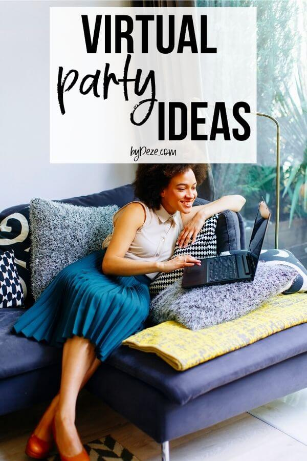 virtual party ideas - lady on couch