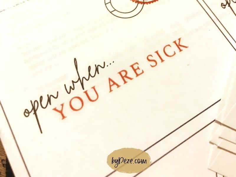 open when you are sick envelope label