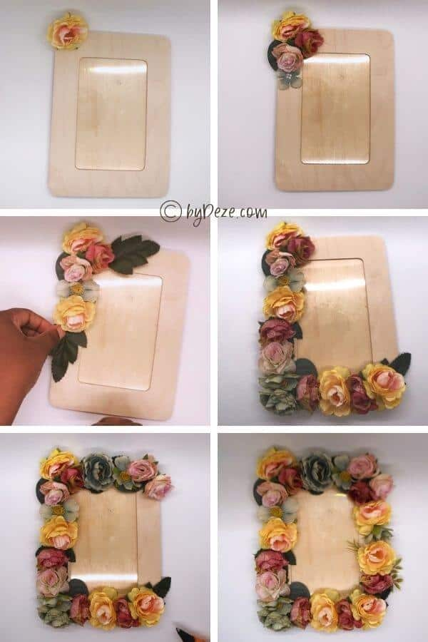 step by step tutorial for floral frame