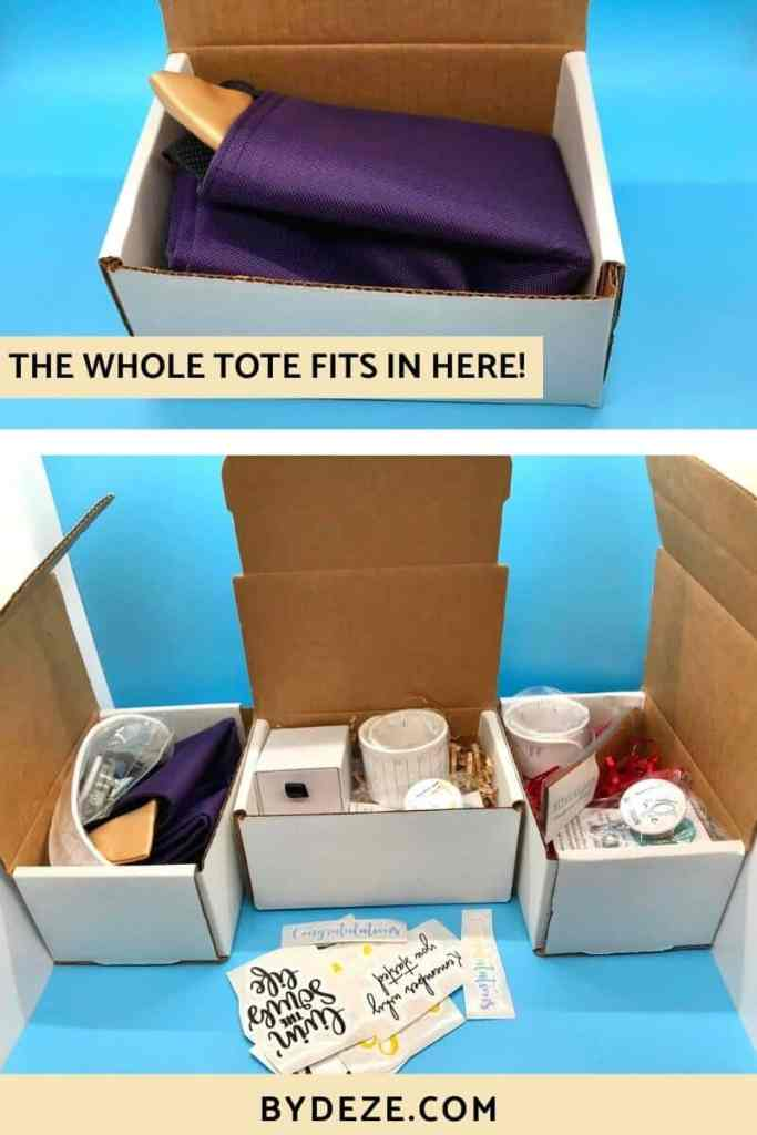 three mailing boxes with gifts for nursing graduates