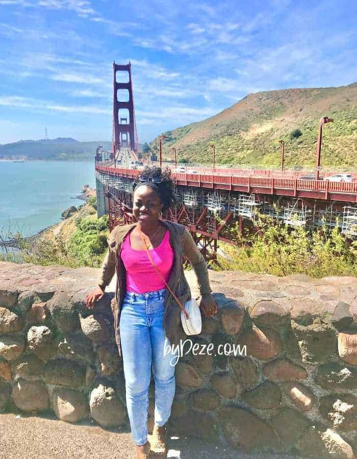 at the golden gate bridge during los angeles to san francisco road trip