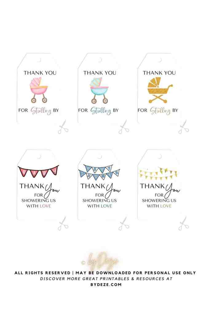 thank you for strolling by funny baby shower thank you tags