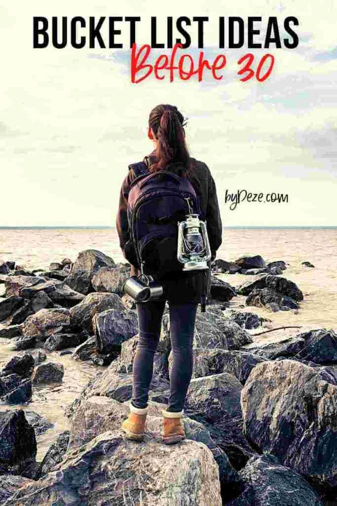 girl in her 20s on adventure - before 30 bucket list ideas