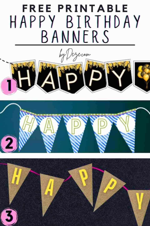 3 free happy birthday banner printable
