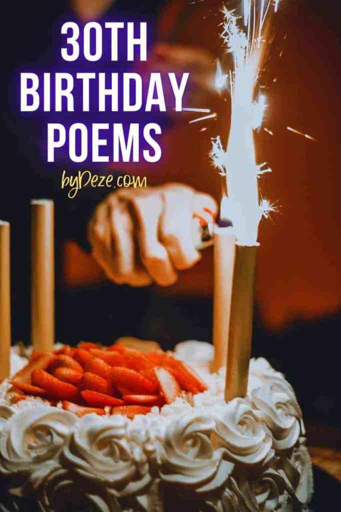 turning 30 poems - hand lighting birthday candle